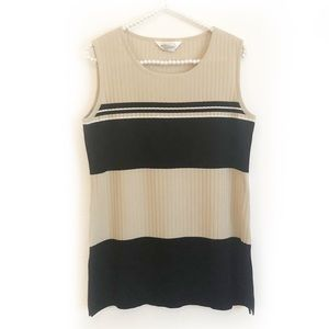 Misook Sleeveless Striped Top Size Small